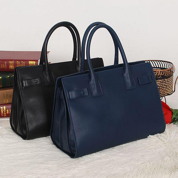 Genuine Leather Women Handbags Brand Shoulder Crossbody Bags Travel Tote Bags And Clutches Black and navy
