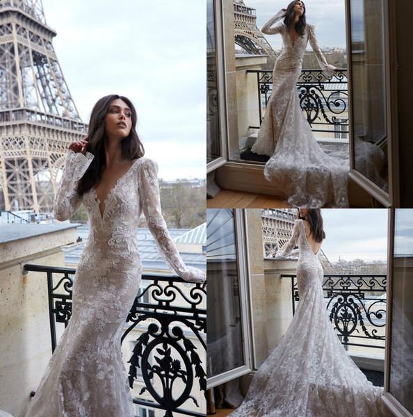julie vino 2019 mermaid full lace wedding dress v neck backless bridal gowns sweep train vestido de novia long sleeve wedding gowns custom