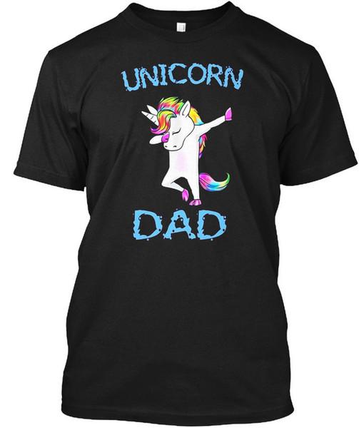 Unicorn Dad Dabbing Dab Dance - T-shirt in cotone con maniche corte per uomo e donna Fashion T-Shirt tee senza colletto