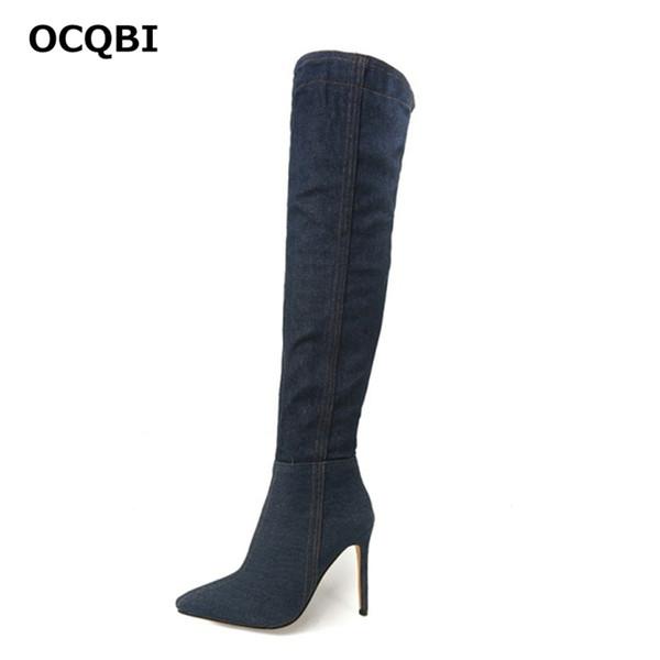 OCQBI 2018 Nueva Sexy Stiletto Botas de vaquero Tallas grandes Tacones delgados Fiesta Moda Elegante Tacones altos bombas en punta del invierno 2018