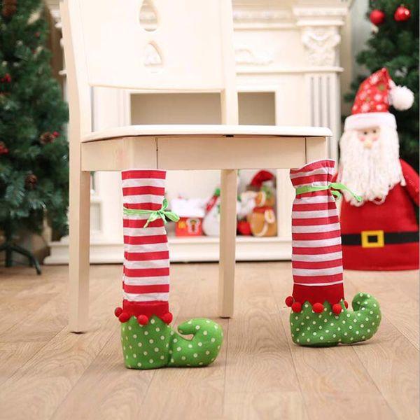 4pcs Christmas Ornaments Elves Table Chair Legs Feet Sock Sleeve Cover Floor Protector DIY Christmas Home Party Decor Gift Sock
