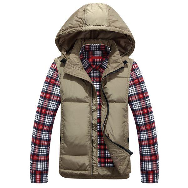 Autumn White Duck Down Vest Men Casual Hooded Jackets Vest Coat Winter Warm Waistcoat Detachable Hat Solid Color Plus Size L-5XL