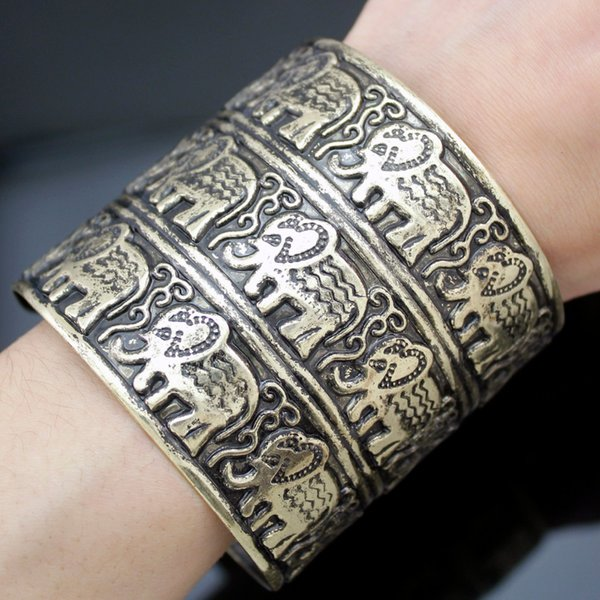 Egypt African Vintage Gold Embossed Elephant OM Hindu Ganesha Big Wide Bracelet Bangle Cuff Indian Men Jewelry Anime Copper