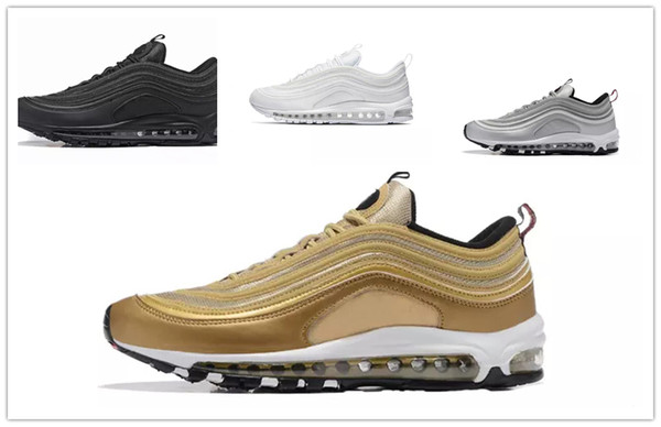 Compre Nike Air Max Airmax 97 97 OG Tripel Blanco Metálico Oro Plata Bala 97 Mejor Calidad BLANCO 3M Zapatos Para Correr Premium Hombres Mujeres Envío