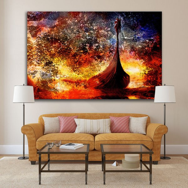 2019 Viking Boat On The Beach With Wood Dragon Wall Pictures Modern Home Decor Canvas Painting For Living Room Framed Poster From Cocoart2016 27 13