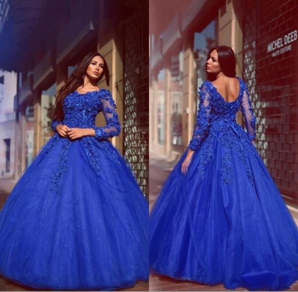 2018 Glamorous Royal Blue Ball Gown Quinceanera Dresses Flowers Appliqued Floor Length Lace Up Long Sleeves Prom Dress