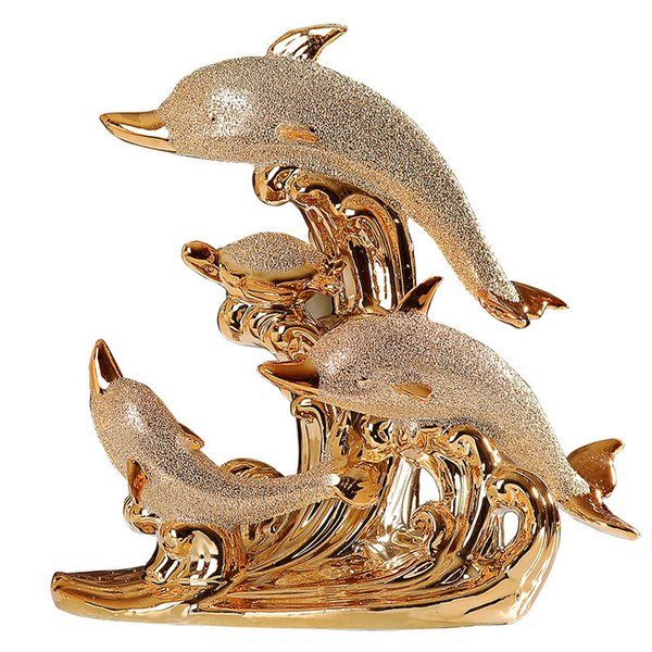 Golden ceramic dolphin horse ornaments Figurines decoration Crafts Animal dolphin model Miniatures living room wedding gift