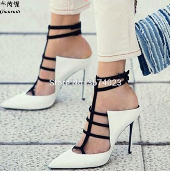 wholesale Women Party Sandals Gladiator High Heels White Red Leather Strappy Shoes Pointed Toe Stilettos Mixed Color Sandalias