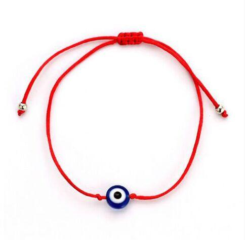 Free Ship 50pcs/lot Red String blue Evil Eye Lucky Red Cord Adjustable Bracelet NEW