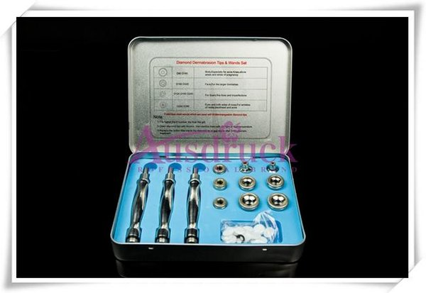 Promotion! Diamond Microdermabrasion Dermabrasion stainless steel 9 Tips 3 Wands cotton filter