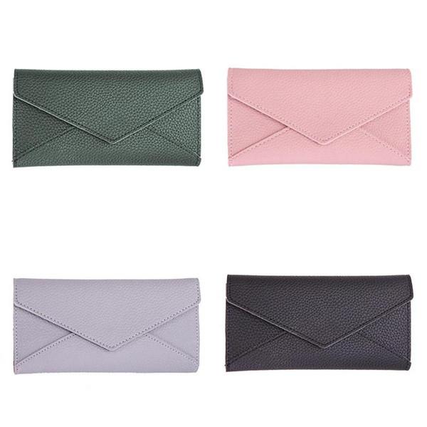 Koreanische Frauen PU Leder Lange Brieftasche Mode 3 Falten Umschlag Geldbörse Dame Clutch Rosa Frauen Brieftaschen Weibliche Ändern Geldbörsen 2018