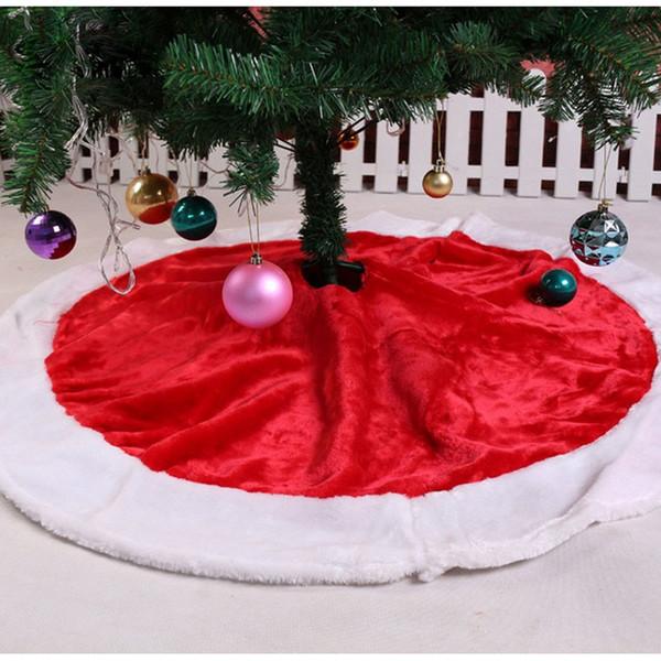 5 pcs / lot 120CM red Christmas Tree Skirt Red White Xmas floor decor cloth Dress Carpet extra large christmas tree skirt natal