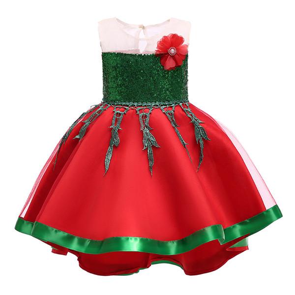 Weihnachten Baby Mädchen Blume Kleid Kinder Weihnachten Prinzessin Kleider Mode Boutique Ballkleid Kinder Kleidung 3 Farben