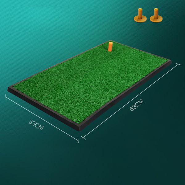 top popular 33*63cm Golf Mats Mini Golf Exerise Mat Portable Golf Practice Mat with 2 Tees 2019