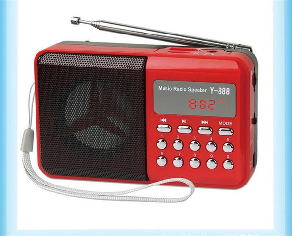Y-888 Portable FM Digital Mini Speaker Radio with Music MP3 Function Support TF SD Card and USB Free Shipping 12003036