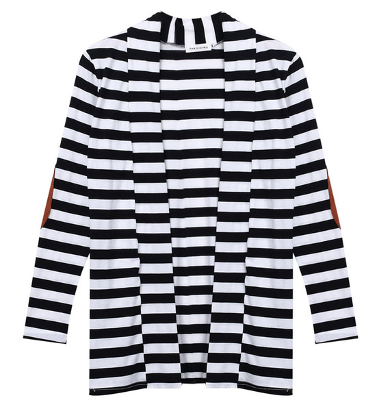 2019 new basic style Women Long Sleeve Knitted Casual Knit Poncho Coat Top black white striped cloth STOCK KS135