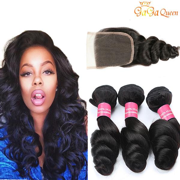 Fasci di capelli sciolti onda peruviana con chiusura capelli vergini peruviani con chiusura fascio di capelli non trattati di capelli umani con 4x4 chiusura