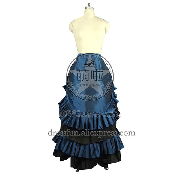 Victorian Lolita Edwardian French Bustle Skirt Gothic Lolita Dress With Glossy Surface And Ruffles Decorated For Dancing