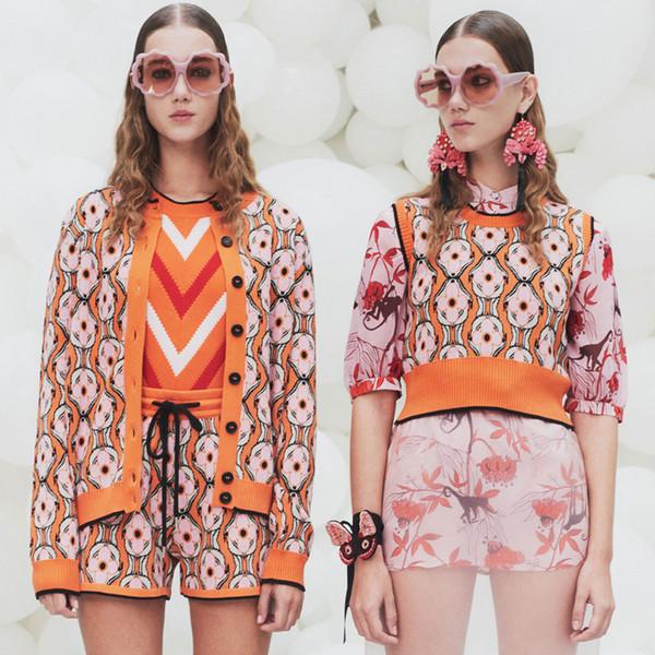 Chic Sweater 3 Piece Set Women Tracksuits Runway Designer Flora Pattern Twinset Knitted Jacket Vest Shorts Suits Orange Female