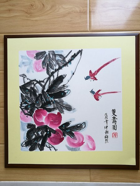 Handpainted Chinese painting--Peaches,Home decoration-- Framed