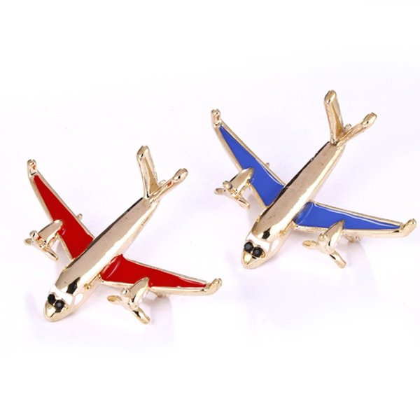 Airplane Model Brooch Red Enamel Gold Color Metal Brooches Pins Clothes Suit Accessories Aircraft Shape Clips #274886