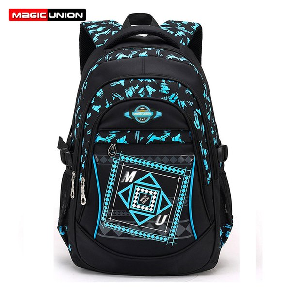 MAGIC UNION New Children School Bags High Quality Nylon Backpacks Lighten Burden On Shoulder For Kids Mochila Infantil Zip Y18120303