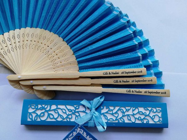30pcs Wedding Silk Hand Fan Customized Printing Bamboo Cloth Fold Fan With Gift Box+Personalized Text+DHL Free Shipping