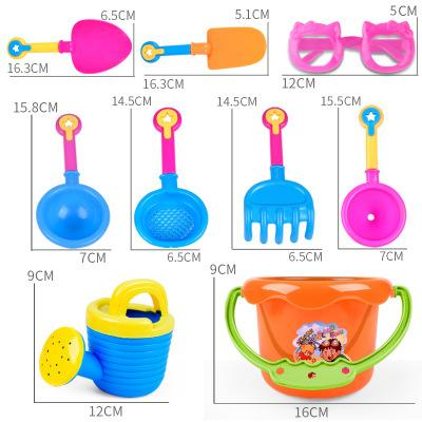 beach Bucket SandBeach Set Toys sand Shovel Sand Wheel Watering bottle Creativity Developing 9 pcs toys For kids