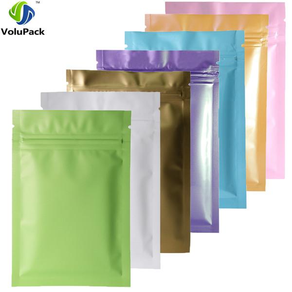 Various Colors 100pcs Heat Sealing Ziplock Pouches Tear Notch Metallic Mylar Flat Zip Lock Package Bag For Herb Powder