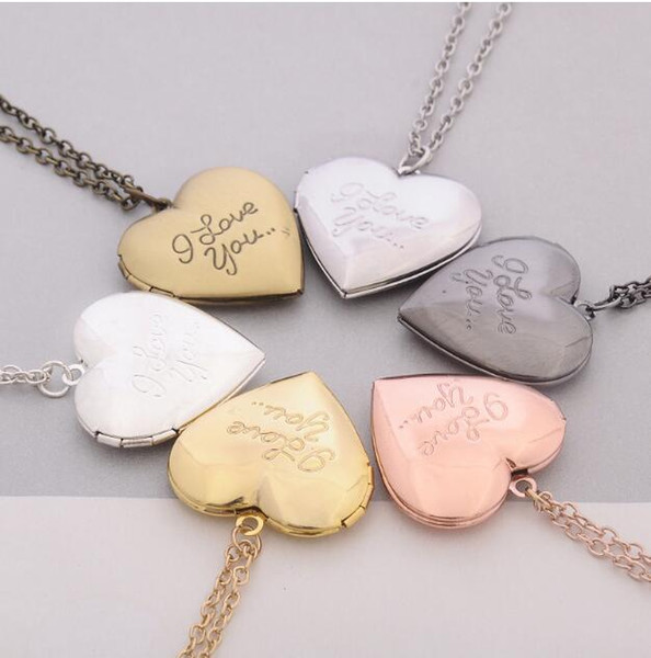 2018 I Love You Heart Locket Necklace Silver Gold Chain Secret Message Photo Box Heart Love Pendants for Women Fashion Jewelry BY DHL 162348