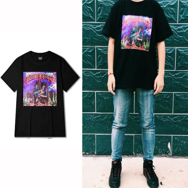 Rock Punk Short Sleeve T shirt Men VINTAGE TRAVIS SCOTT Fashion Style Black Special Printed Tee shirt Homme Casual Tees S-XXXL