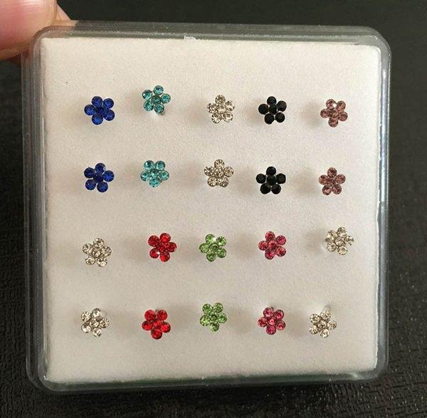 Bijoux de corps de bijoux de gemmes de fleur de bijoux de gemmes de fleur d'argent anneau de nez anneau et les goujons Piercing bijoux 20pcs / boîte en gros