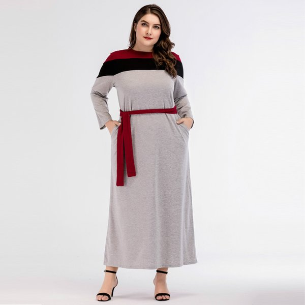3185725-1# Big Size Women's Wear European and American Coloured Tie Long Sleeved Round Neck Waistband Middle East Fashion Dress plus size