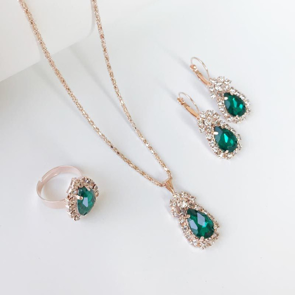 2019 Hot sales Bridal Jewelry Set fashion Drop Shape Luxurious crystal gemstone Earrings Ring Pendant Necklace 6 color selection