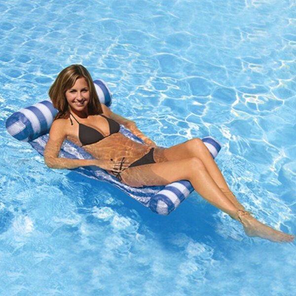 6 colores de la raya fila flotante inflable cama flotante sola piscina de agua hamaca piscina piscina flotante colchón de aire piscina