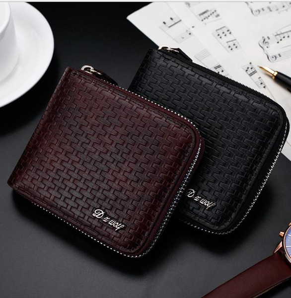 2017 Male Genuine Leather luxury wallet Casual Short designer Card holder pocket Fashion weaving Purse wallets for men free shipping