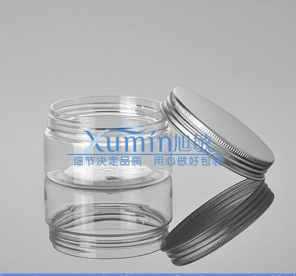100 g clear PET Bottle With Gorgeous silver aluminum Cap, 100ml Transparent Plastic Container Cream Jar, 100 G Cosmetic jar