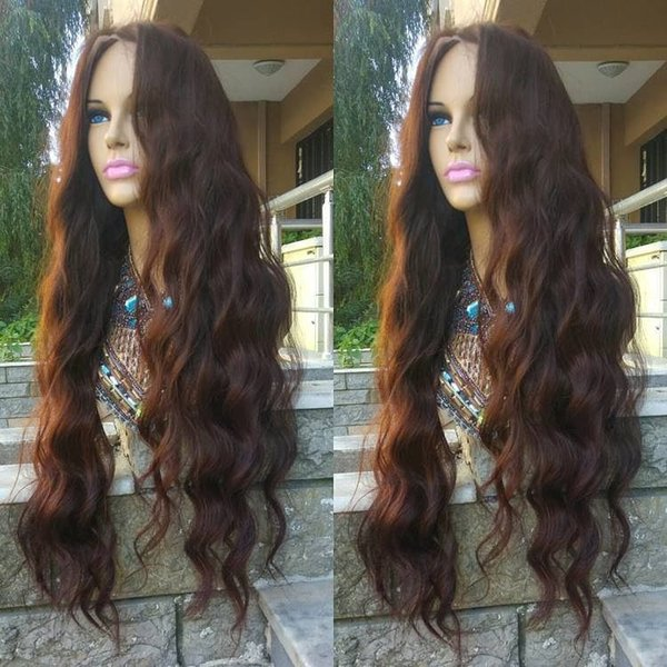 Pretty grade 6a 100% unprocessed raw virgin remy human hair long #3 natural wave full lace cap wig for women