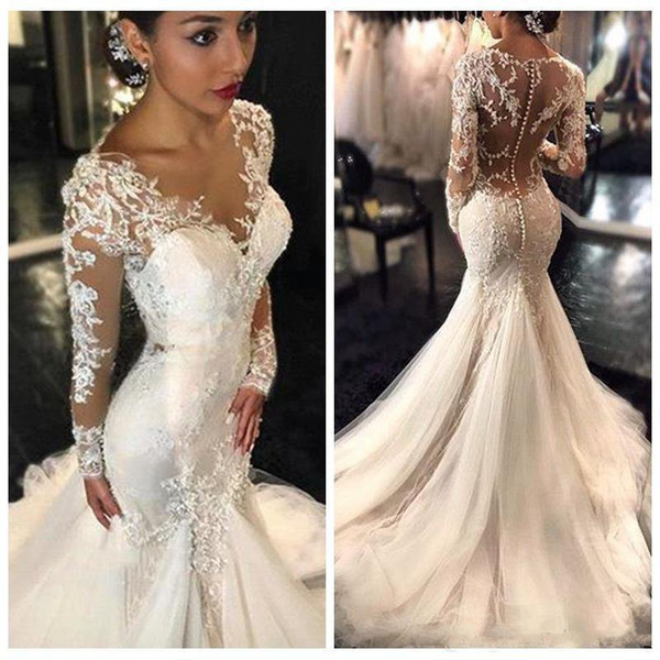 Gorgeous Lace Mermaid Wedding Dresses 2019 Dubai African Arabic Style Long Sleeves Sheer Neck Appliques Natural Slin Fishtail Bridal Gowns