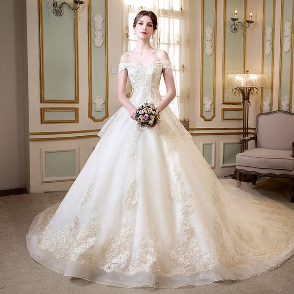 New designer Princess arabic church ball gown wedding dresses plus size off shoulder champagne gold beaded lace corset Ivory bridal gowns