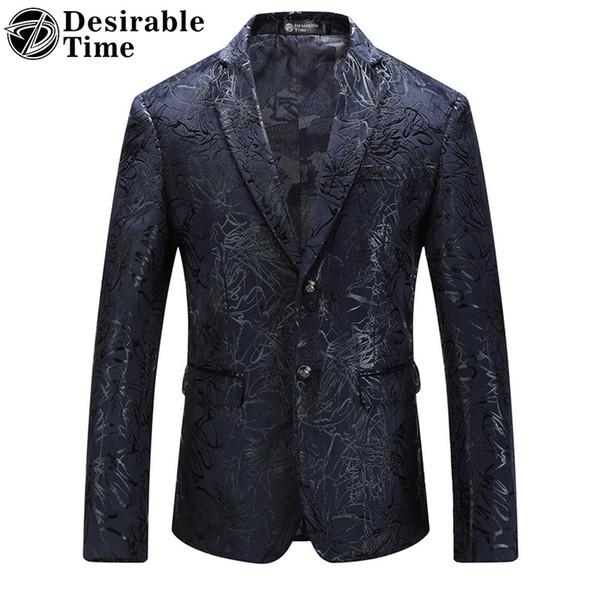 Tiempo deseable para hombre chaqueta de blazer con estampado de terciopelo grandes tamaños M-5XL Otoño nuevo estilo de moda slim fit blazer para hombres DT153