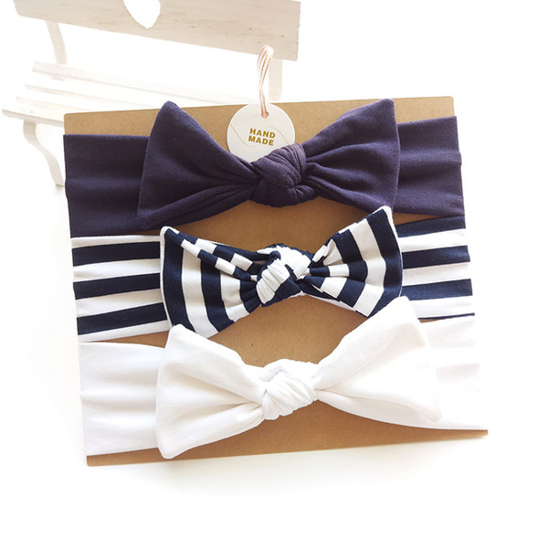 Baby Girls Headbands Cute Infants Bowknot Hairbands Solid Color Striped Hair Bows Rabbit Ears For Kids Hair Accessories Free DHL B21