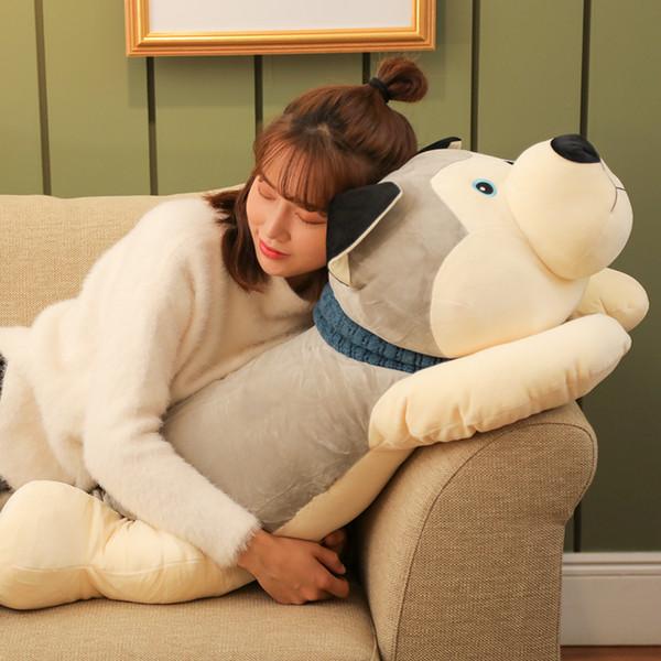 pop soft cartoon husky plush toy giant stuffed animal dog doll sleeping pillows for children friend gift deco 43inch 110cm DY50482