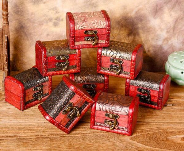 Envío gratis 200 unids caja de almacenamiento organizador caja de joyería de la vendimia Mini modelo de flor de madera contenedor de metal cajas pequeñas de madera hechos a mano
