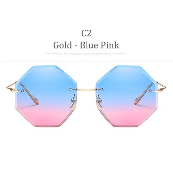 C2 Gold Frame Blue Pink Lens