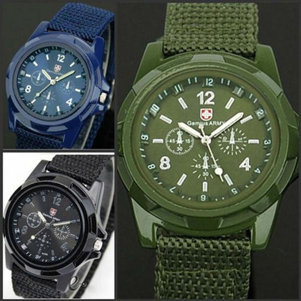 Moda suizo Nylon trenzado militar Gemius / reloj suizo Marine Air Force Reloj deportivo Acero inoxidable Titanio Material de aleación