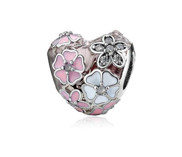 Free Shipping 30pc SilverCrystal Heart Pink Magnolia Diy Loose Bead Jewelry Marking Charm Fit Pandora European Style Bracelet Necklace Women