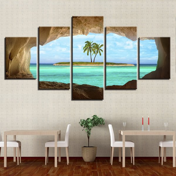 Canvas Pictures Home Decor HD Prints Posters 5 Pieces Cave View For A Coconut Tree On Island Ocean Paintings Wall Art Framework