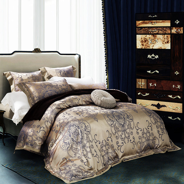 Bedding Set Luxury Jacquard Silk/Coon Bed Cover 4/6pcs Satin Duvet Cover Bedclothes Bed Linen Queen King Size For Christmas