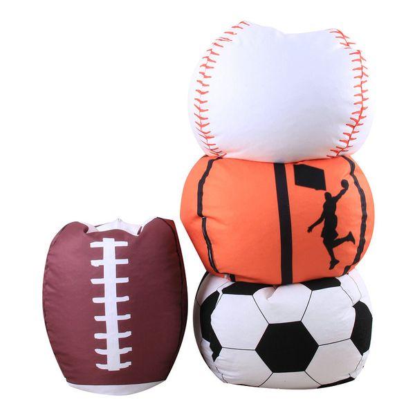 Mais novo 4 estilo de 18 polegada de basquete de beisebol de basebol rugby armazenamento beanbag crianças recheado de pelúcia brinquedos de armazenamento saco de feijão brinquedo organizador cadeira